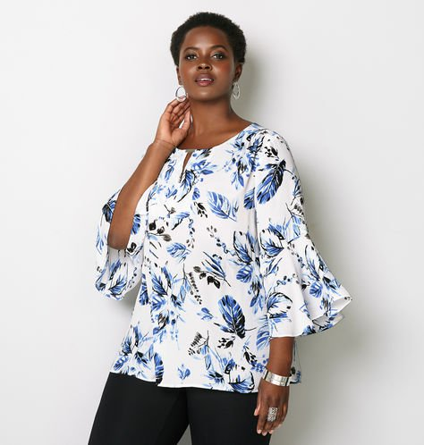 plus size flower print blouse