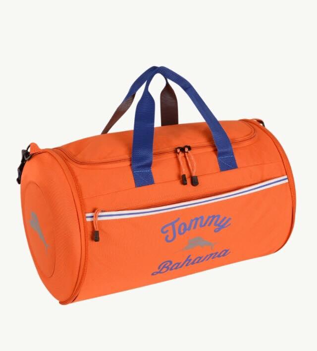 orange duffel bag