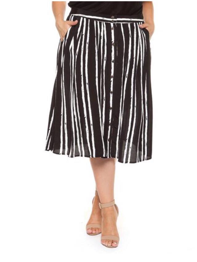 black and white plus size striped skirt