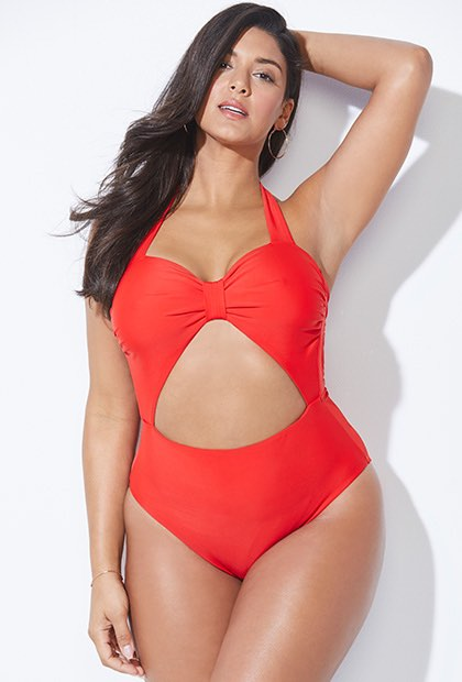 rachel roy x swimsuits for all cherry twist swimsuit