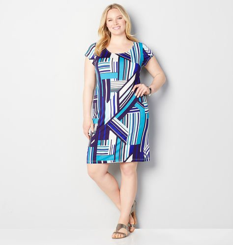 plus size geo print sheath dress