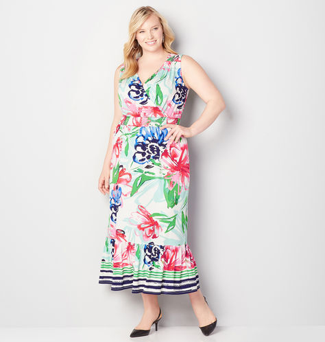 Plus Size FLORAL FLOUNCE HEM MAXI DRESS from Avenue Plus
