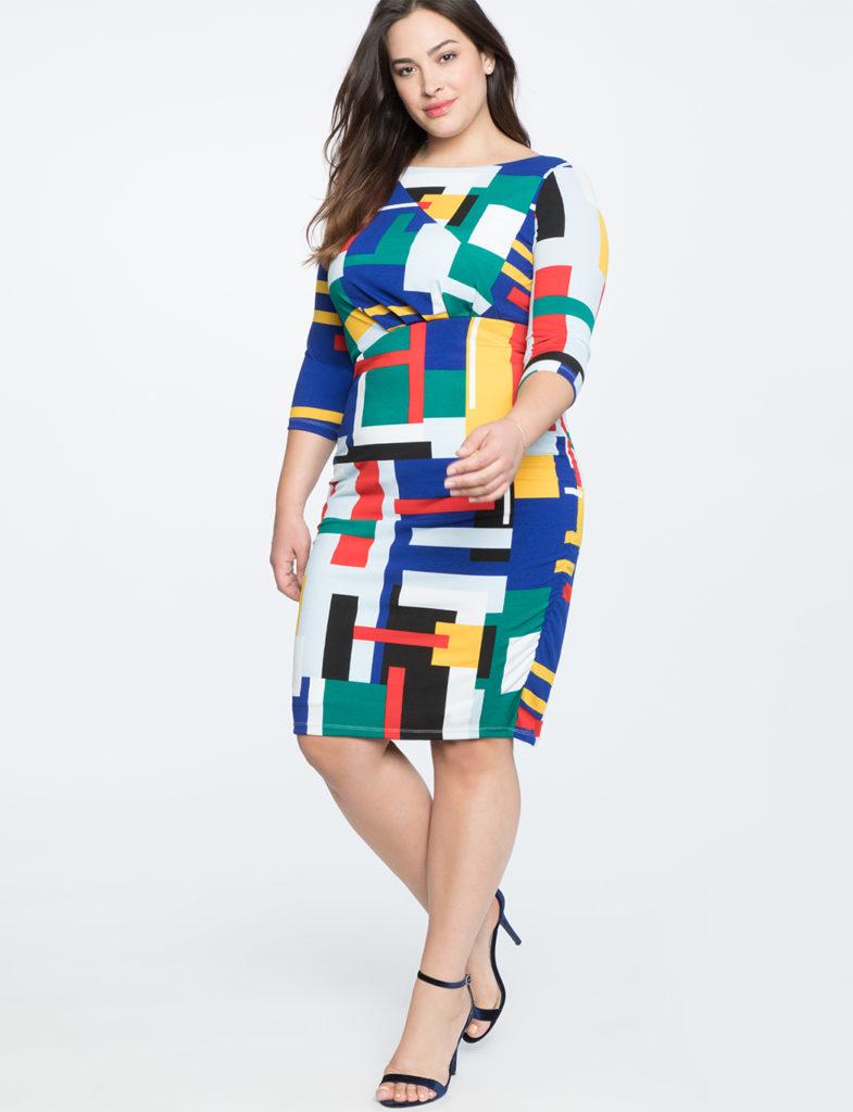 plus size geo print dress