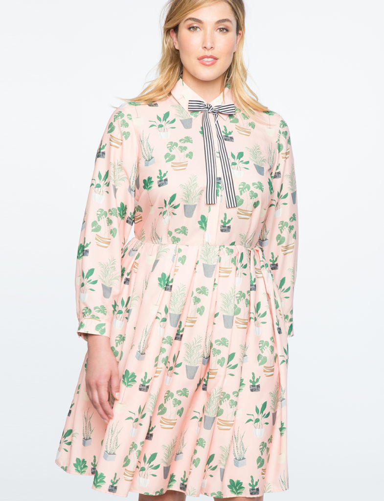 plus size long sleeve cactus print fit and flare dress from eloquii
