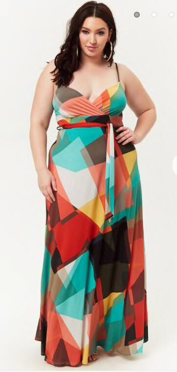 plus size geo print surplice maxi dress