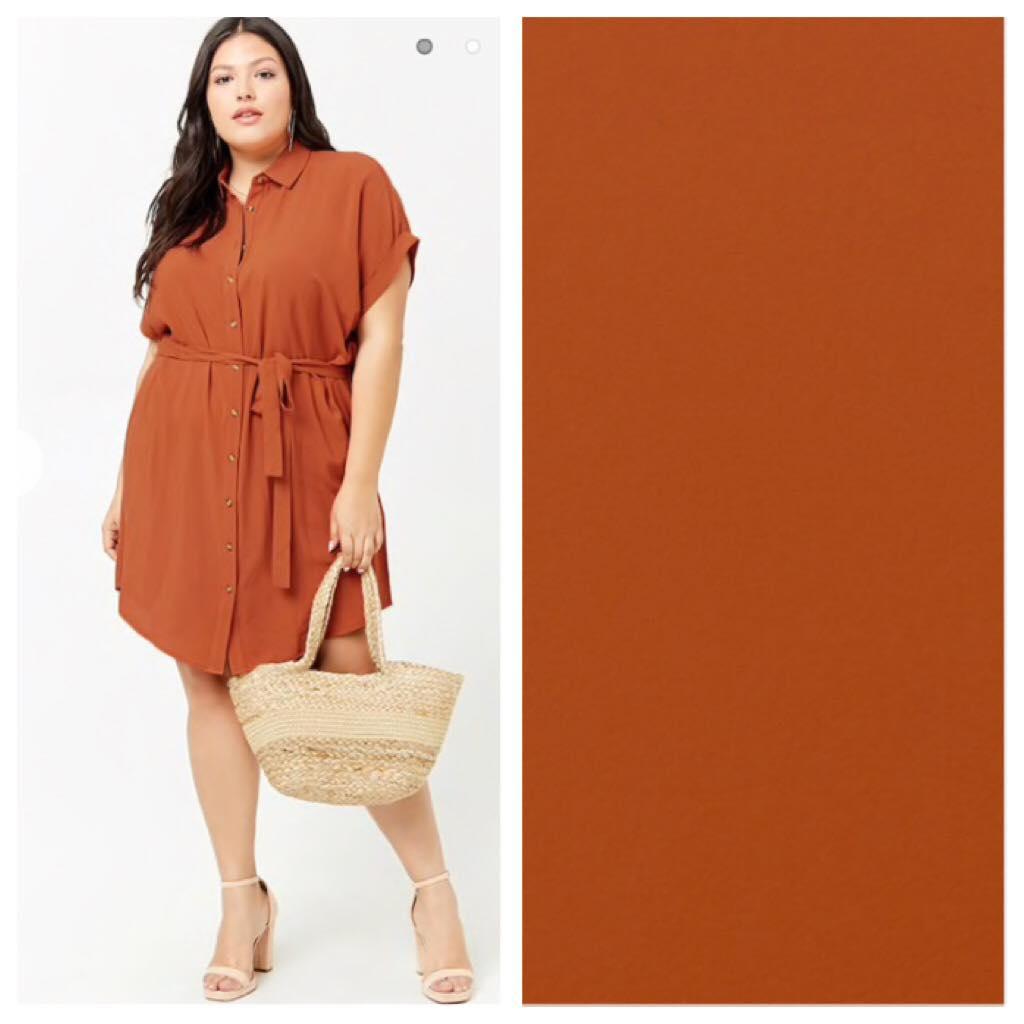 orange plus size belted shirt dress