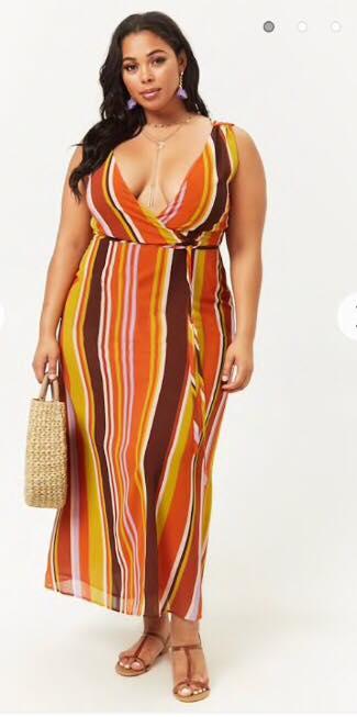 plus size striped maxi dress