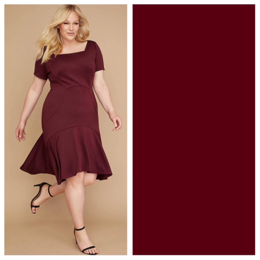 wine color plus size dress
