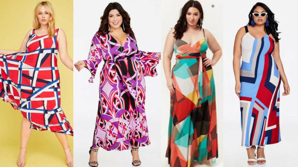 plus size geo print dresses