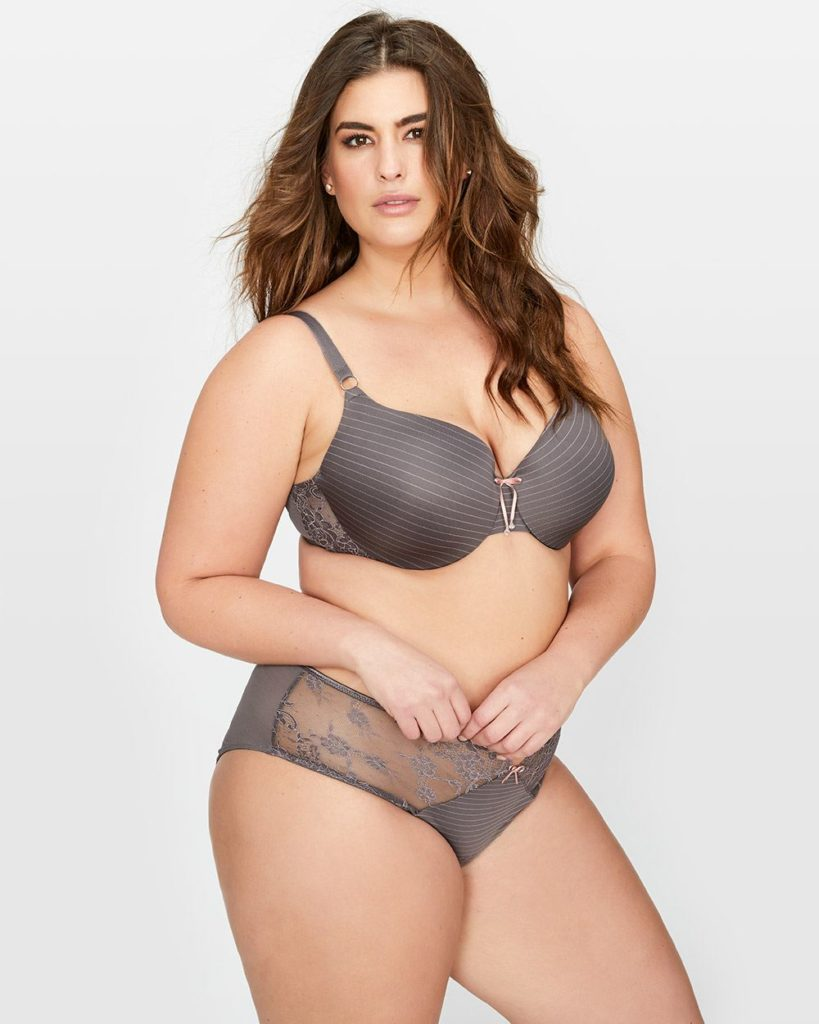 grey plus size bra and panty set