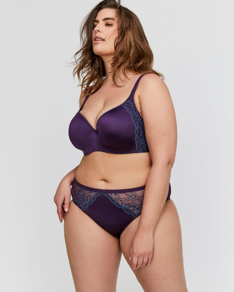purple plus size bra and panty set