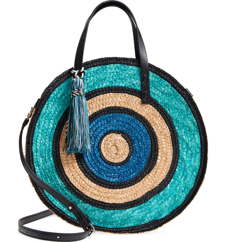 woven straw circle bag