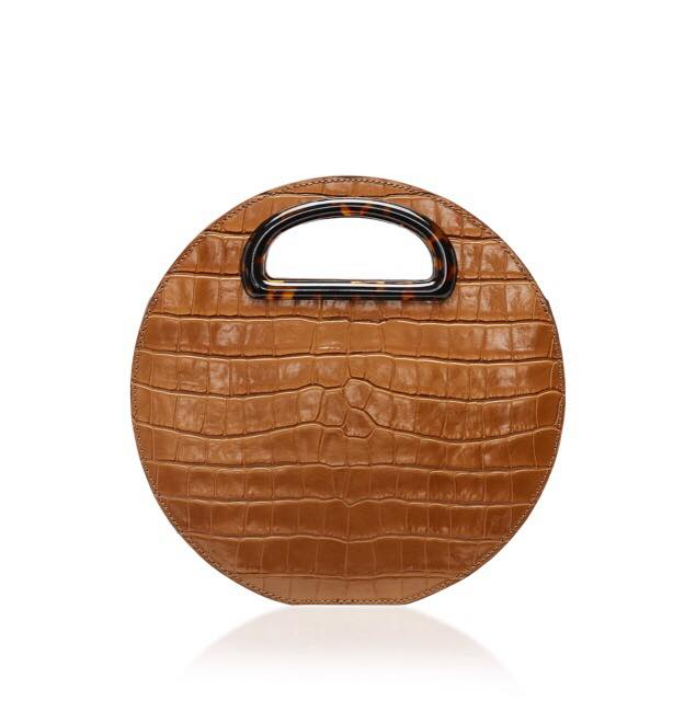 croc embossed circle bag by mansur gavriel