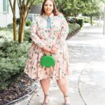 Look #20 of 2018: Long Sleeve Plus Size Cactus Print Fit & Flare Dress