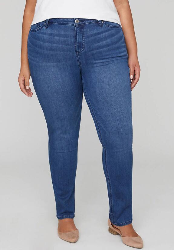 Straight leg jean with slimmer from catherines