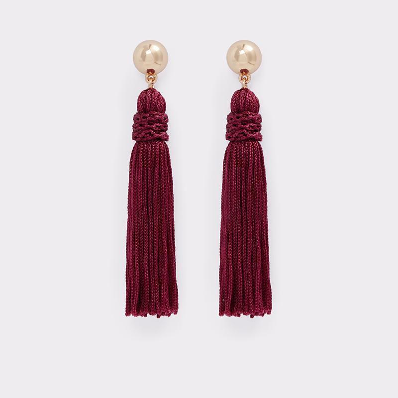 Burgundy Tassel Earrings