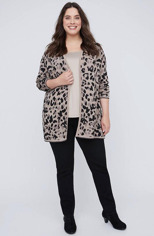 Leopard Print Cardigan With Pockets