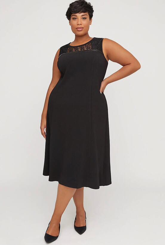 black plus size fit and flare dress