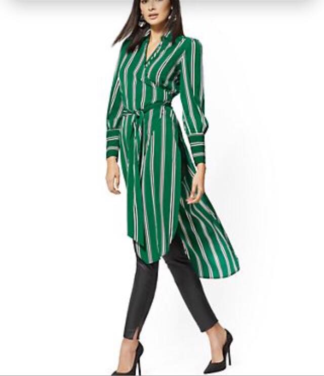 Green Stripe Maxi Shirt