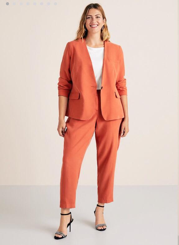 Salmon Color Plus Size Suit