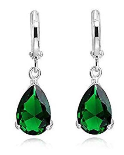 Emerald Green Teardrops Dangle Earrings