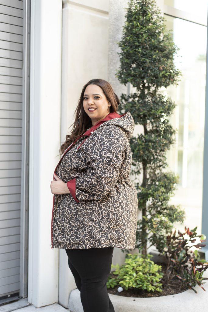 Farrah Estrella wearing a leopard print jacket