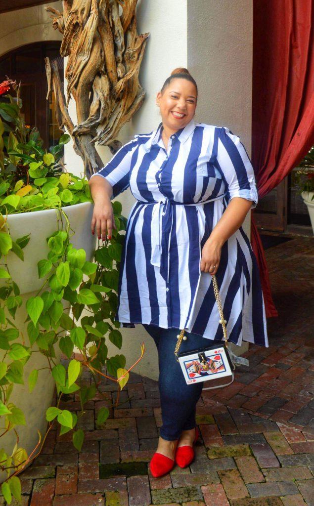 plus size striped shirtdress