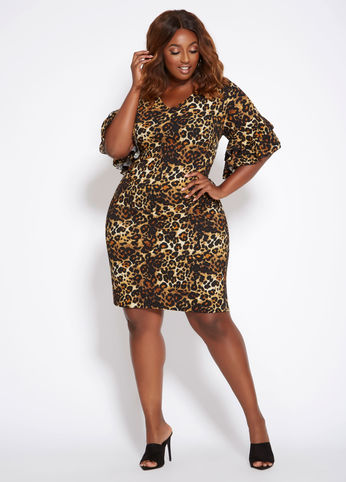 plus size leopard print ruffle dress