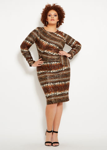 Ruched Animal Print Dress