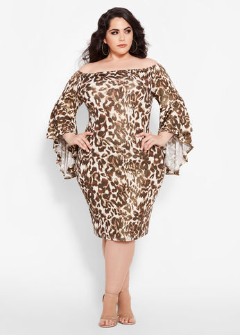 plus size animal print bell sleeve dress
