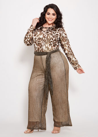 plus size metallic animal print jumpsuit from ashley stewart