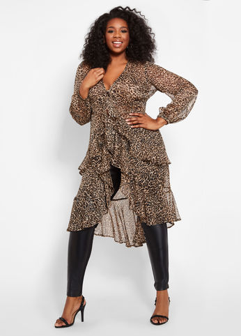 Plus Size METALLIC LEOPARD PRINT DUSTER TOP