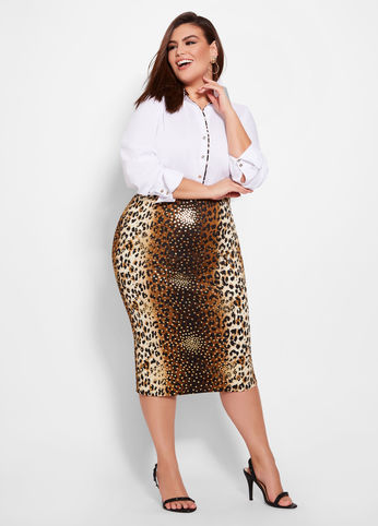 plus size LEOPARD MIDI SKIRT WITH FOIL DOTS