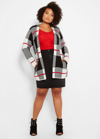 Plus Size Long Sleeve Plaid Cardigan
