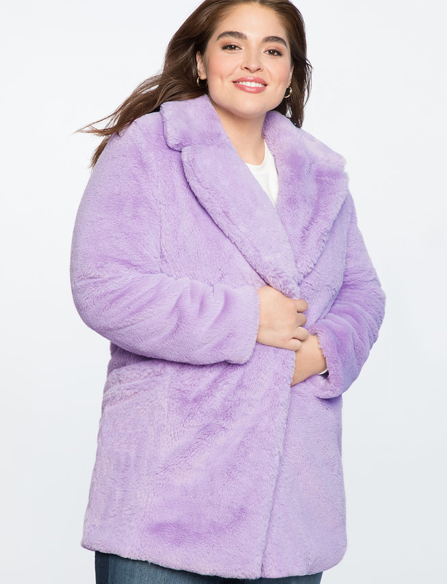 Plus Size Lilac Faux Fur Coat