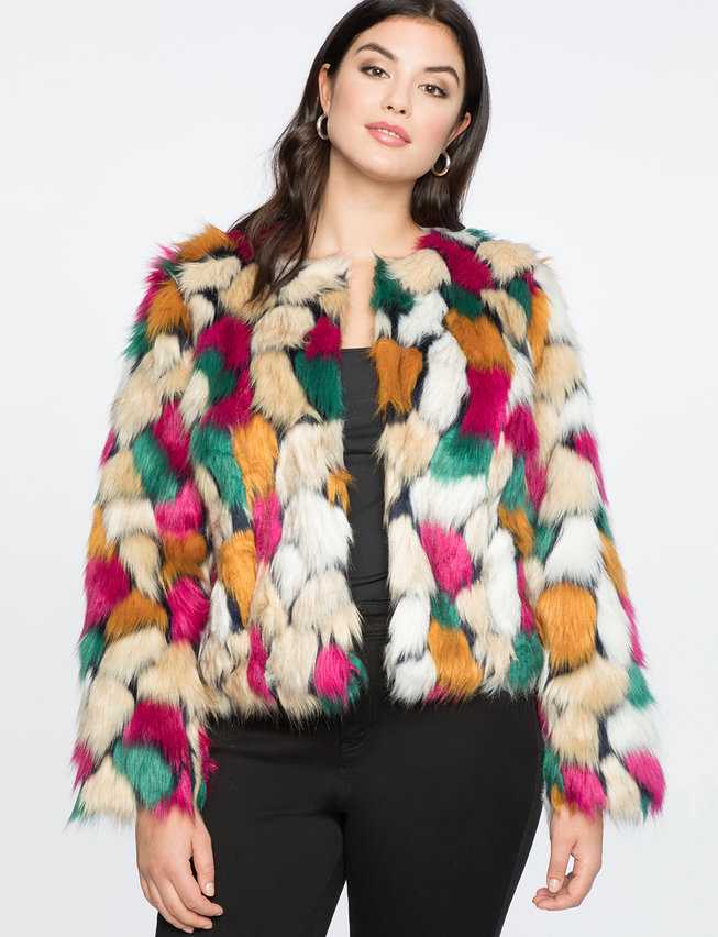 Plus Size Cropped Faux Fur Coat