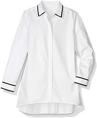Chico's Women's No-Iron Cotton Contrast-Trim Tunic White
