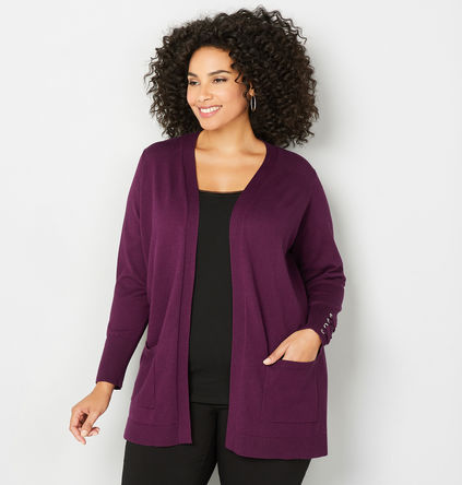 Plus Size Purple Lace-Up Cuff Cardigan