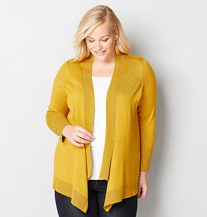 Yellow Plus Size Cardigan