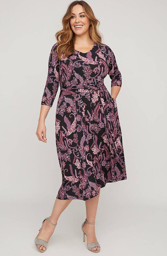 Paisley Midi Dress With Pockets