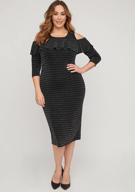 Midnight Sparkle Cold Shoulder Midi Dress