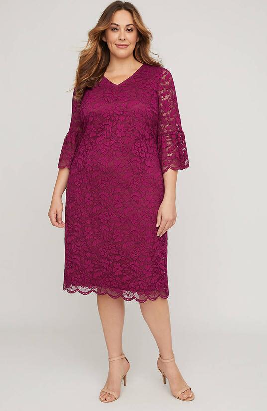 Plus Size Lace Romantic Shift Dress from Catherines