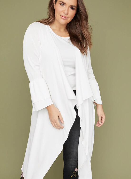 Plus Size Tiered Ruffle Sleeve Duster Cardigan