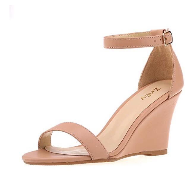 Nude Mid Wedge Platform Heeled Sandals
