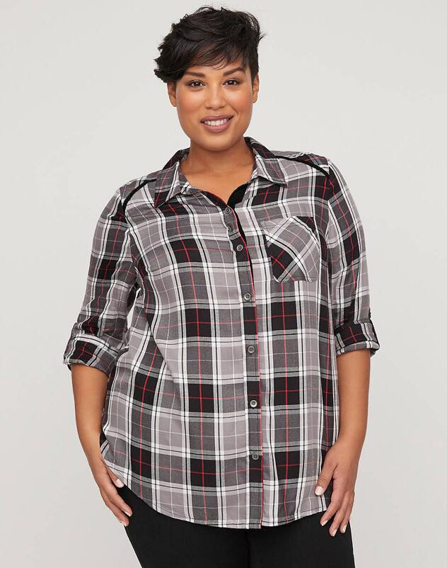 Plush Touch Plaid Button front Shirt