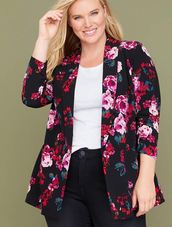 plus size floral print blazer