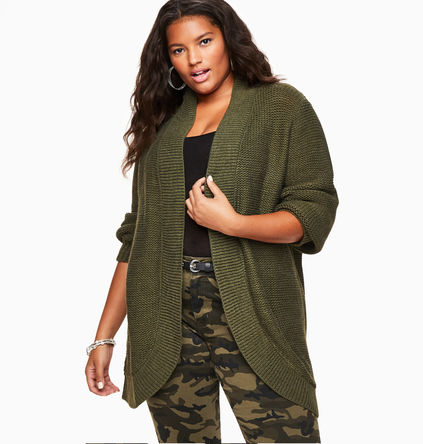 Plus Size Split Back Cardigan in Olive Green