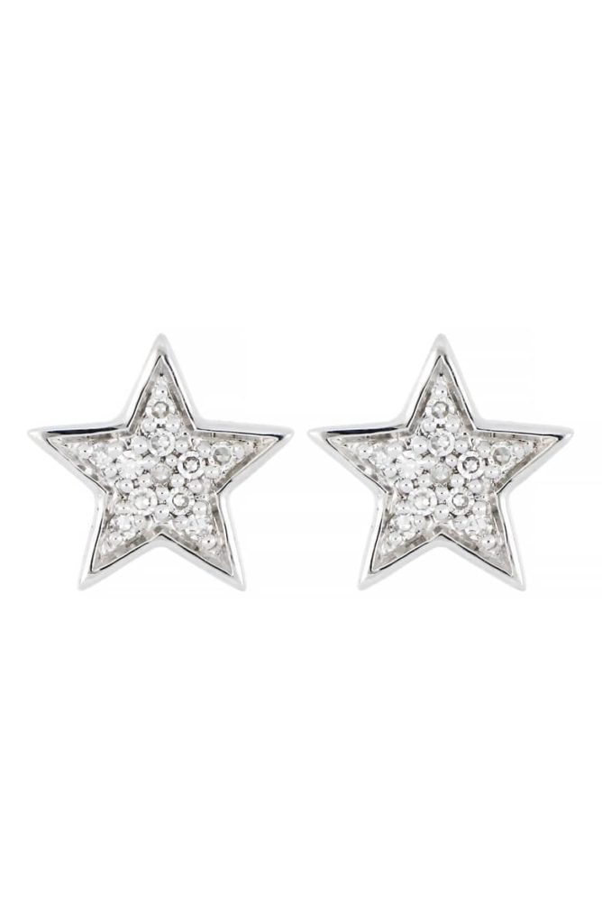 Carrière Pavé Diamond Star Stud Earrings
