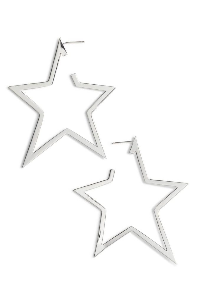 Sade X-Large Star Hoop Earrings, Main, color, STERLING SILVER