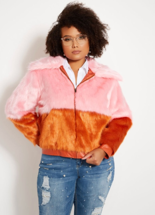 TWO TONE FAUX FUR BOMBER JACKET